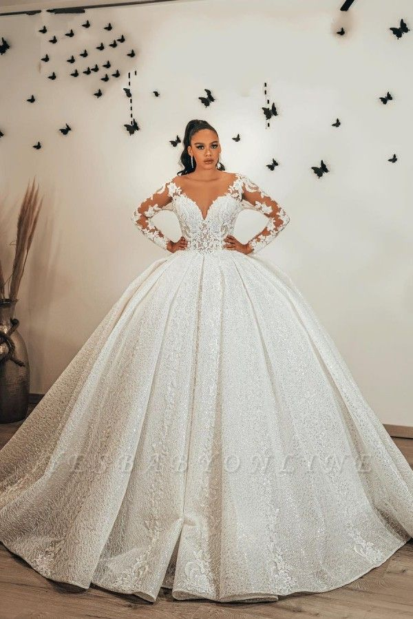Ball Gown Long Sleeves Lace  Glitter wedding dresses