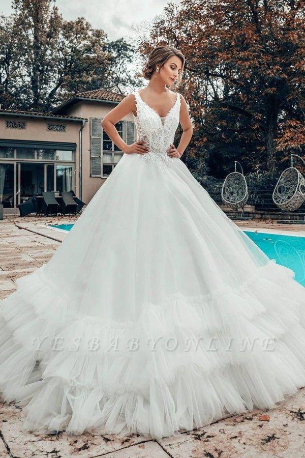 A line Lace Tulle Sleeveless V Neck Wedding dresses