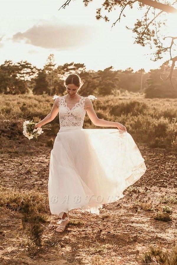Chic A-Line Chiffon Lace Wedding Dress On Sale