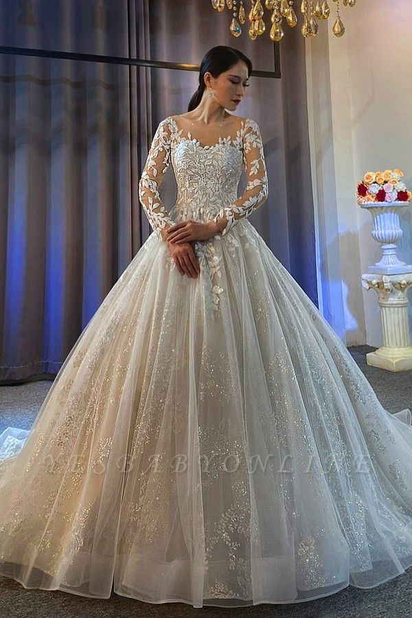Ball Gown Long Sleeves Tulle Lace Wedding Dress
