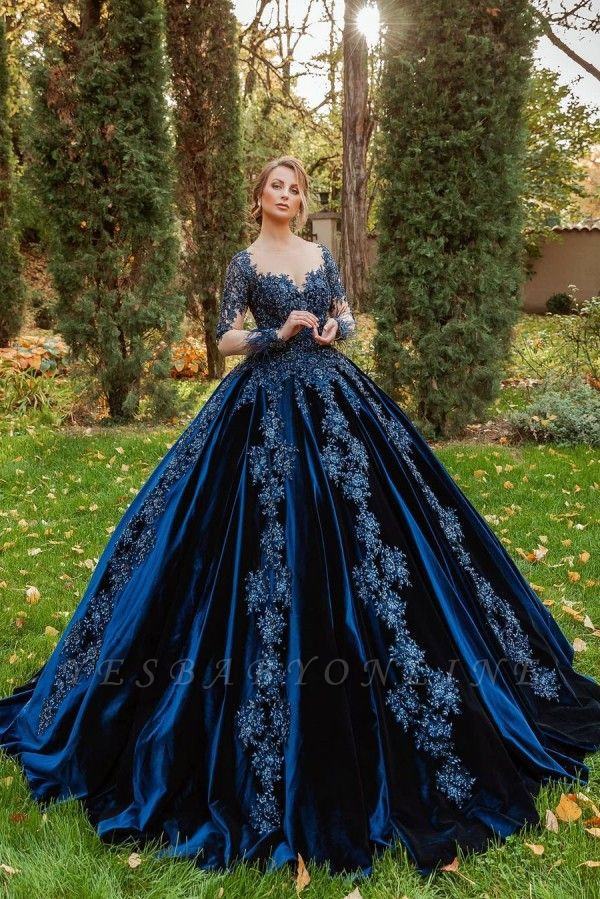 Gorgeous Ball Gown Velvet Lace Long Sleeves Prom Dress