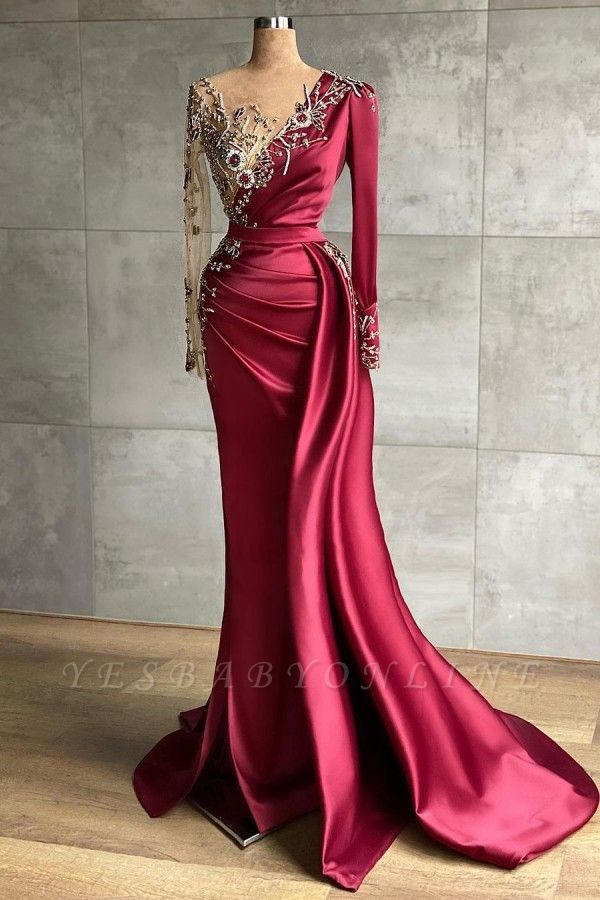Asymmetrical Mermaid Long Sleeves Prom Dress with Ruffles