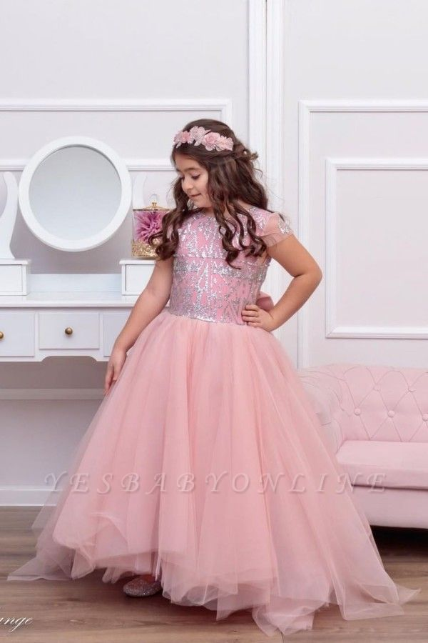Cute Tulle Beadings Cap Sleeves Flower Girl Dress with Bow