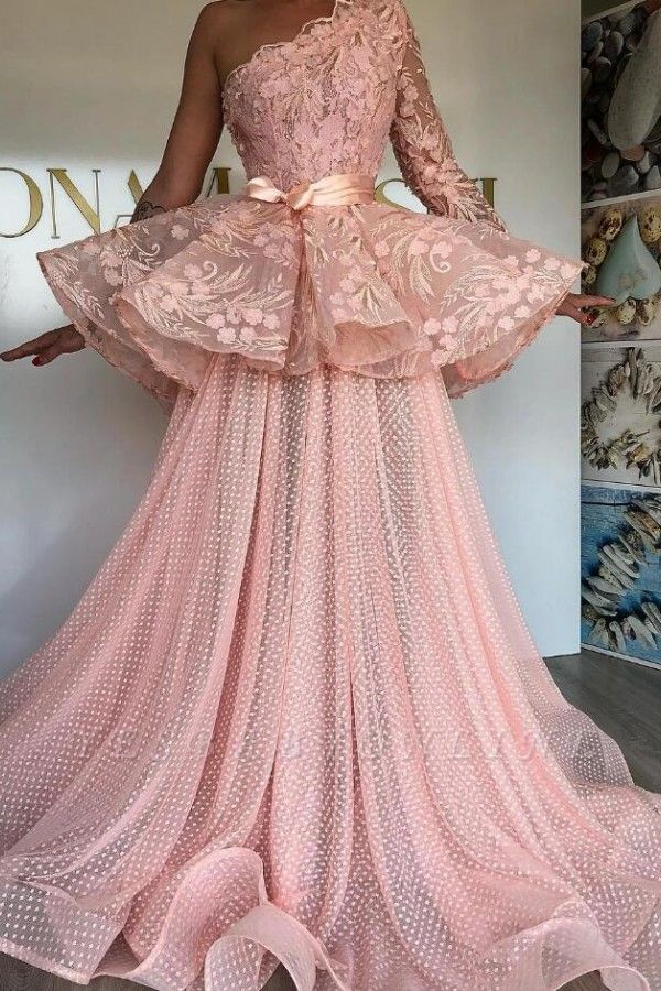 One Shoulder Pink Tulle Lace Prom Dress Online