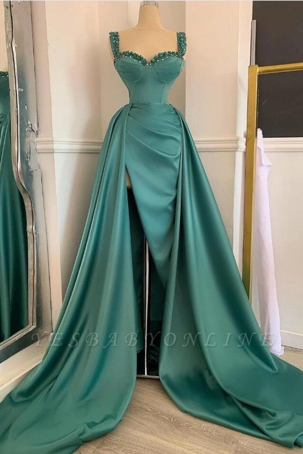 Affordable Green Satin Slit Long Prom Dress