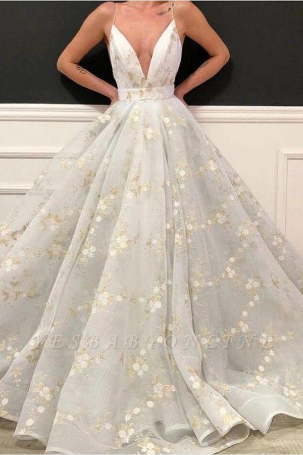 Sexy Deep-V-Neck Flowers Prom Dress On Sale