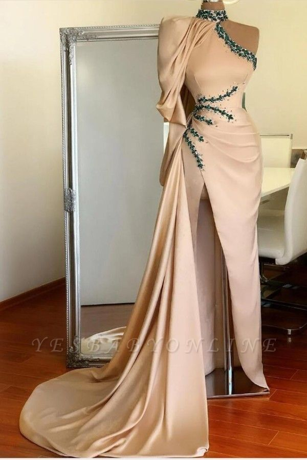 Asymmetrical High Neck Sexy Slit Prom Dress