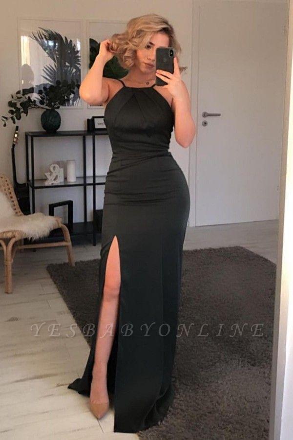Chic Mermaid Black Prom Dress with Slit