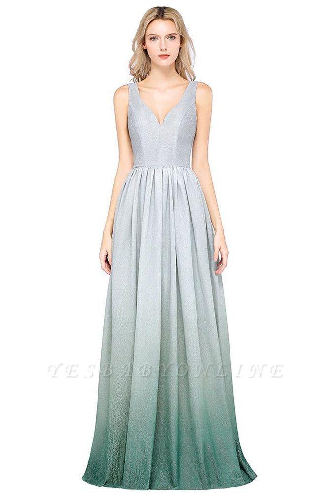 A-line Ruffles V-Neck Long Evening Dress On Sale