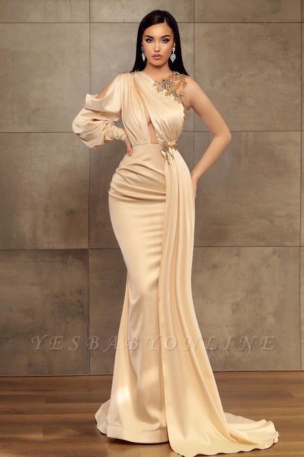 Sexy Mermaid One-Shoulder Charmeuse Prom Dress with Beadings