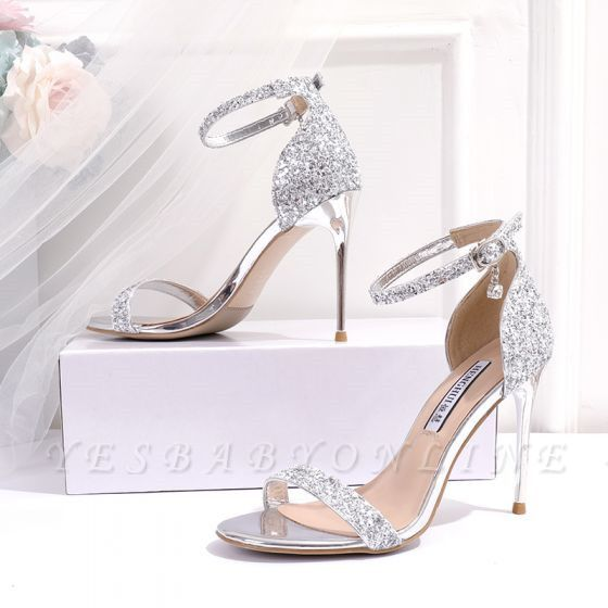 Sparkly Silver Evening Party Womens Sandals 2021 Sequins Ankle Strap 10 cm Stiletto Heels Open Toe High Heels