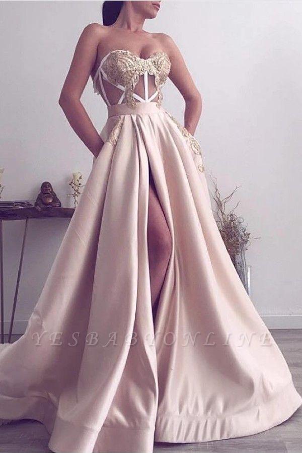 Sexy Strapless Satin Lace Slit Prom Dress