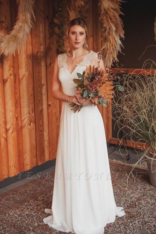 Simple A-Line Lace Chiffon Wedding Dress