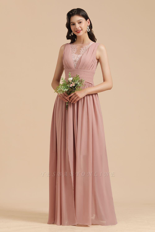 Elegant Sleevele Dusty Pink Chiffon Bridesmaid Dresses