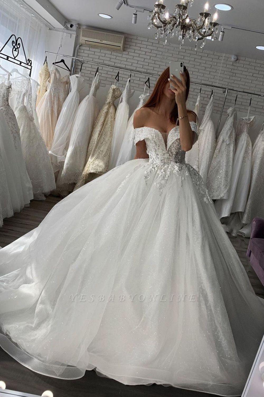 Gorgeous Off Shoulder Floral Lace White Bridal Gowns