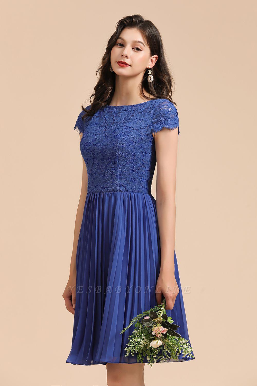 Royal Blue Short Sleeves Knee Length Mini Bridesmaid Dresses