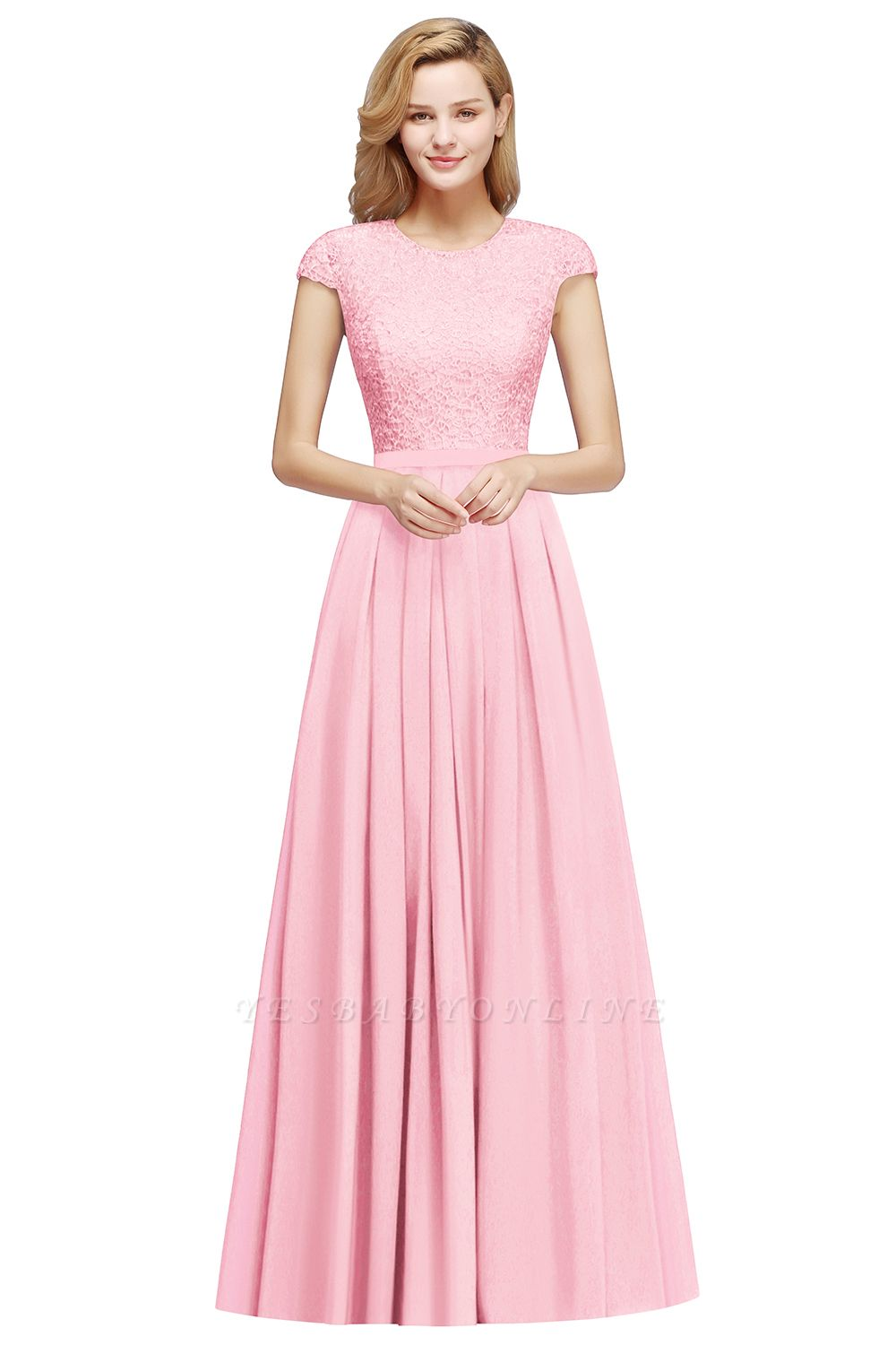 Cheap A-line Jewel Short Sleeves Chiffon Lace Bridesmaid Dress in Stock
