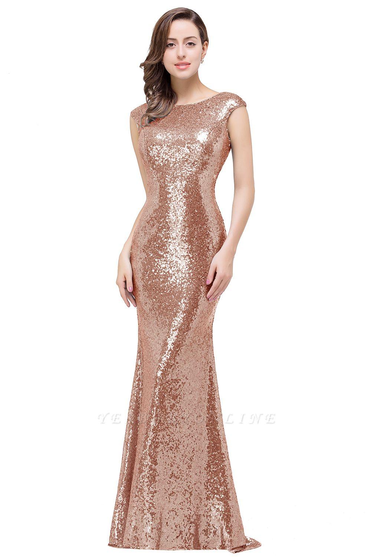 Mermaid Floor-Length Sleeveless Scoop Sequins Prom Dresses