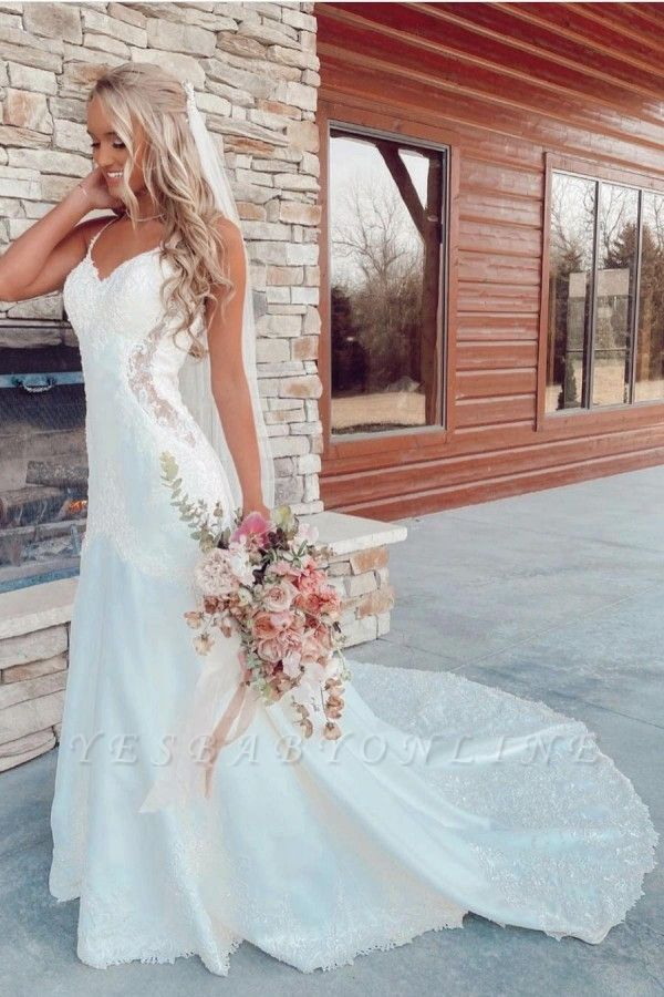 Beautiful mermaid wedding dresses v neck Wedding gown with lace