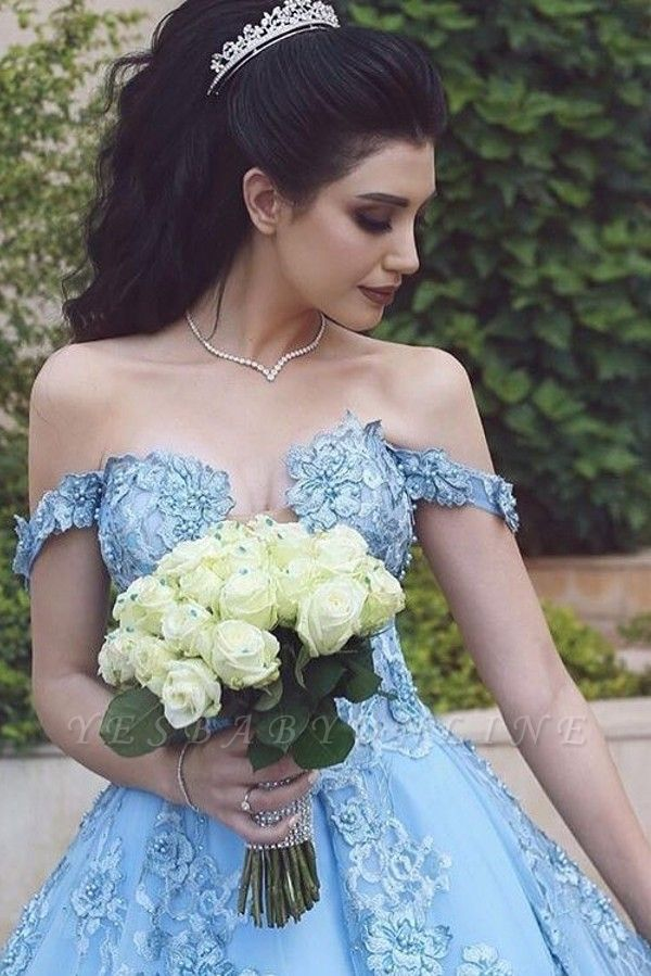 Off the shoulder Blue Evening Dresses Long Cheap Prom dresses with lace