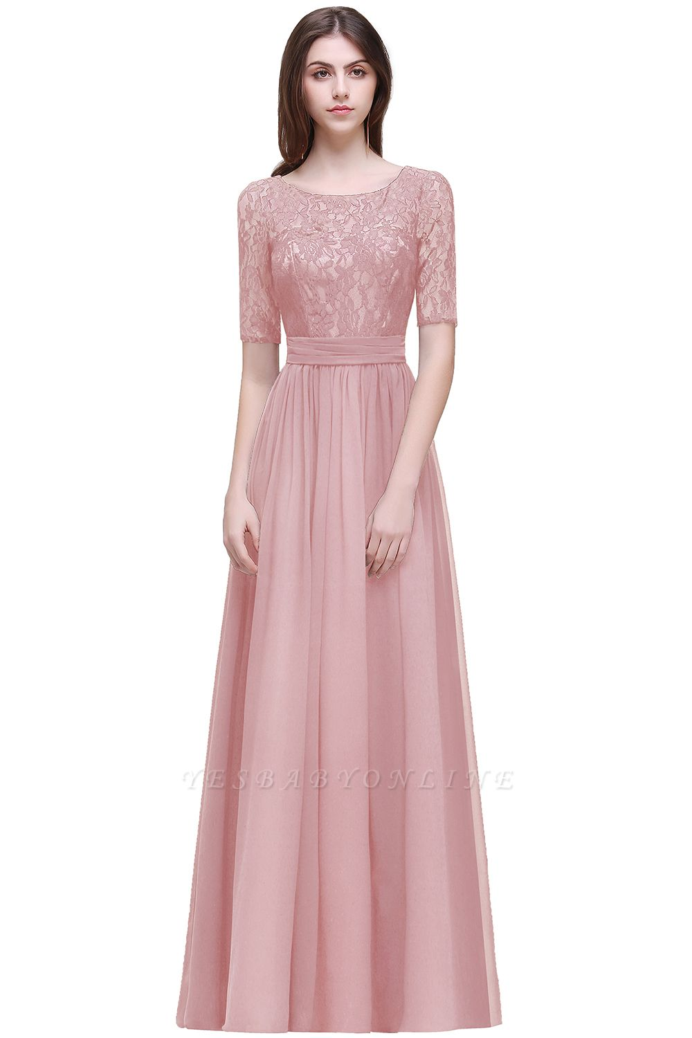 Cheap Half-Sleeve Lace Long Chiffon Evening Dress in Stock