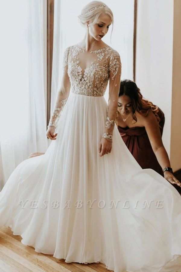 Simple Lace Tulle A Line wedding dress with sleeves