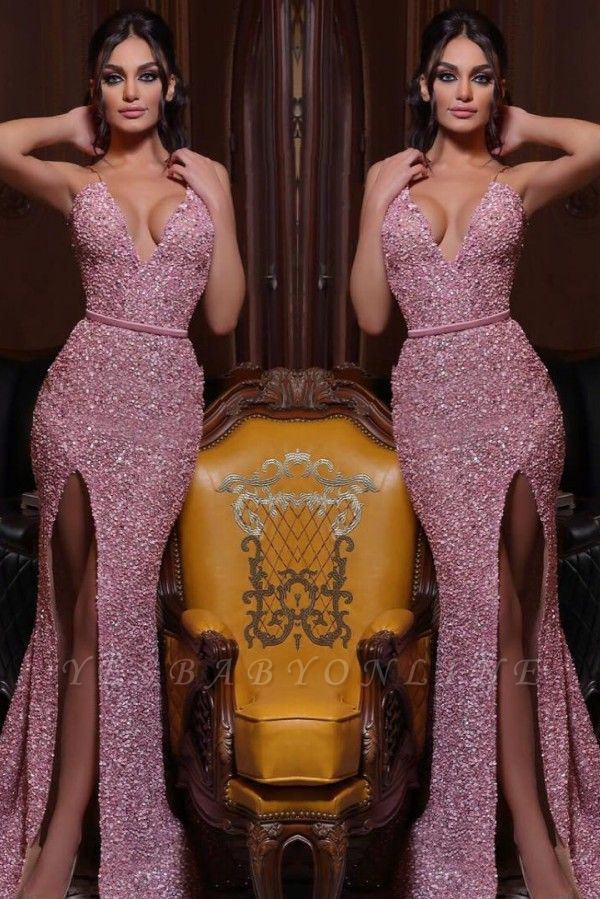 Mermaid Evening dress long pink Prom dresses with glitter