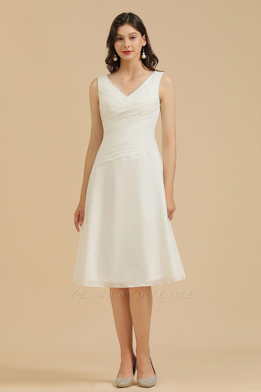 Classic V-Neck Sleeveless Knee Length Chiffon Bridesmaid Dresses