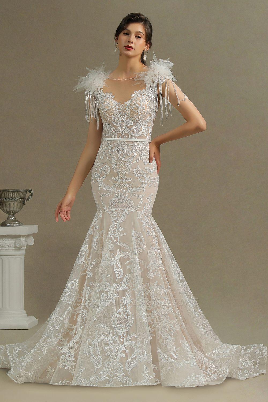 Fur Leather Lace Off Shoulder V-Neck Mermaid Wedding Gowns