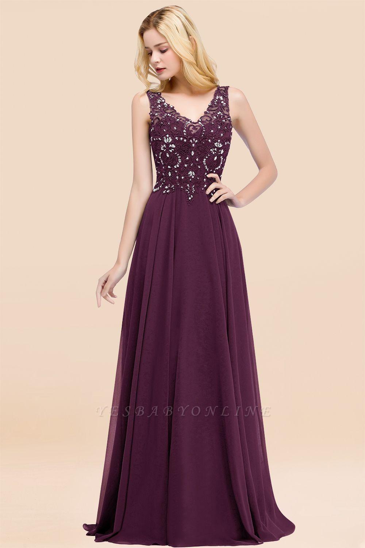 Straps V Neck  Applique Crystal Sequin Floor Length A Line Prom Dresses