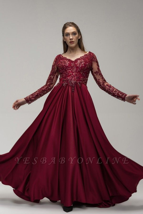Wine red evening dresses long cheap Prom dresses with sleeves