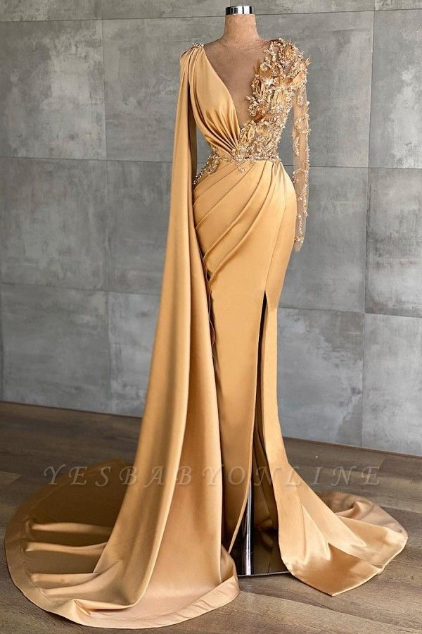 Gold Long Glitter Prom Dresses mermaid Evening dresses with sleeves