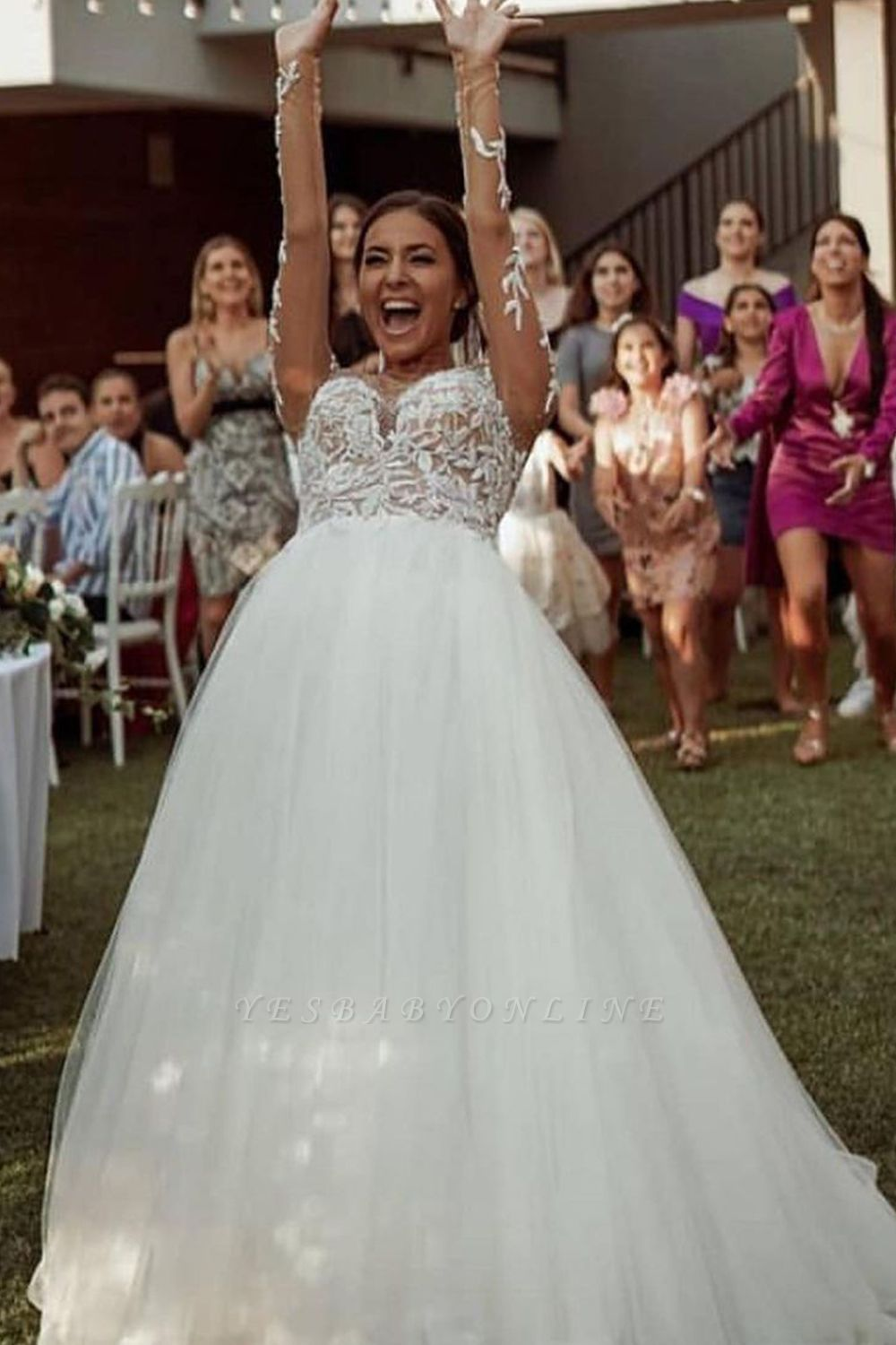 A Line Long Sleeve Lace Tulle Casual Wedding Dresses