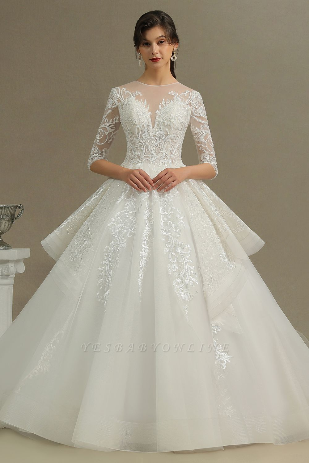 Luxury Long Sleeves Lace Bridal Gowns Floral Crew Neck A Line Spring Garden Dress