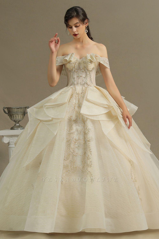 Gorgeous Off-the-Shoulder Ivory Wedding Dresses Floral Appliques Ball Gown Bridal Dress