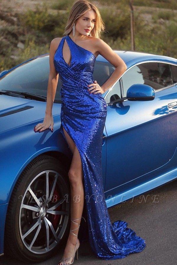 Floor Length One Shoulder Mermaid Glitter Sequins Prom Dresses