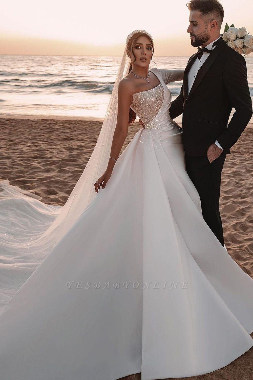 Sexy One Shoulder Ruffle Satin Seqiuns Mermaid Bridal Dresses