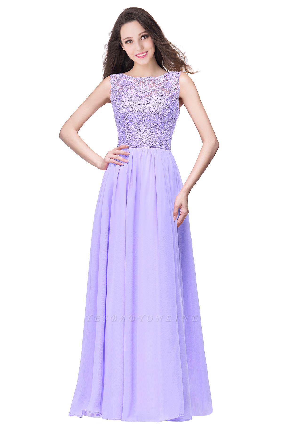 ELYSE   A-line Sleeveless Crew Floor-length Lace Top Chiffon Prom Dresses