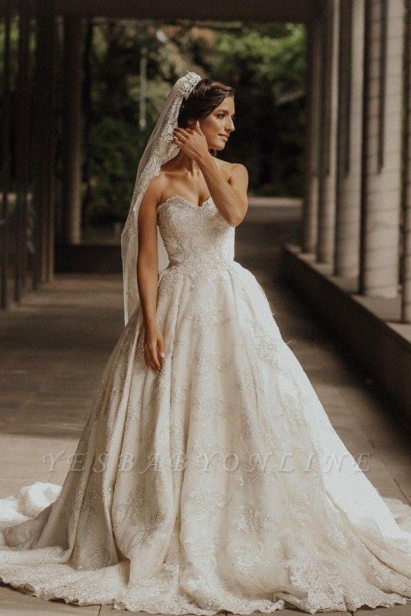 Luxury sweetheart wedding dress A line Wedding dresses lace