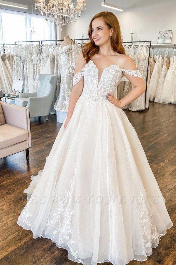 Modern off the shoulder lace wedding dress A line Cheap online