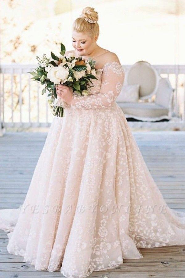 Plus size wedding dresses Lace Oversized wedding dresses with sleeves
