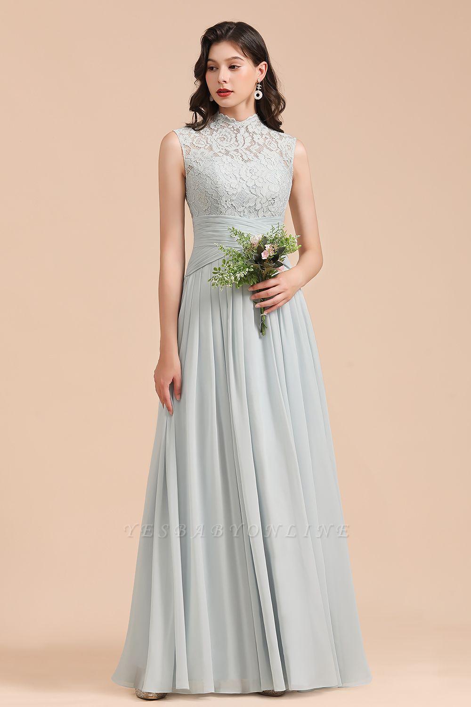 Floor Length Chiffon High Neck Lace Bridesmaid Dresses