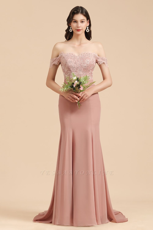 Off Shoulder Floral Lace Appliques Mermaid Bridesmaid Dress