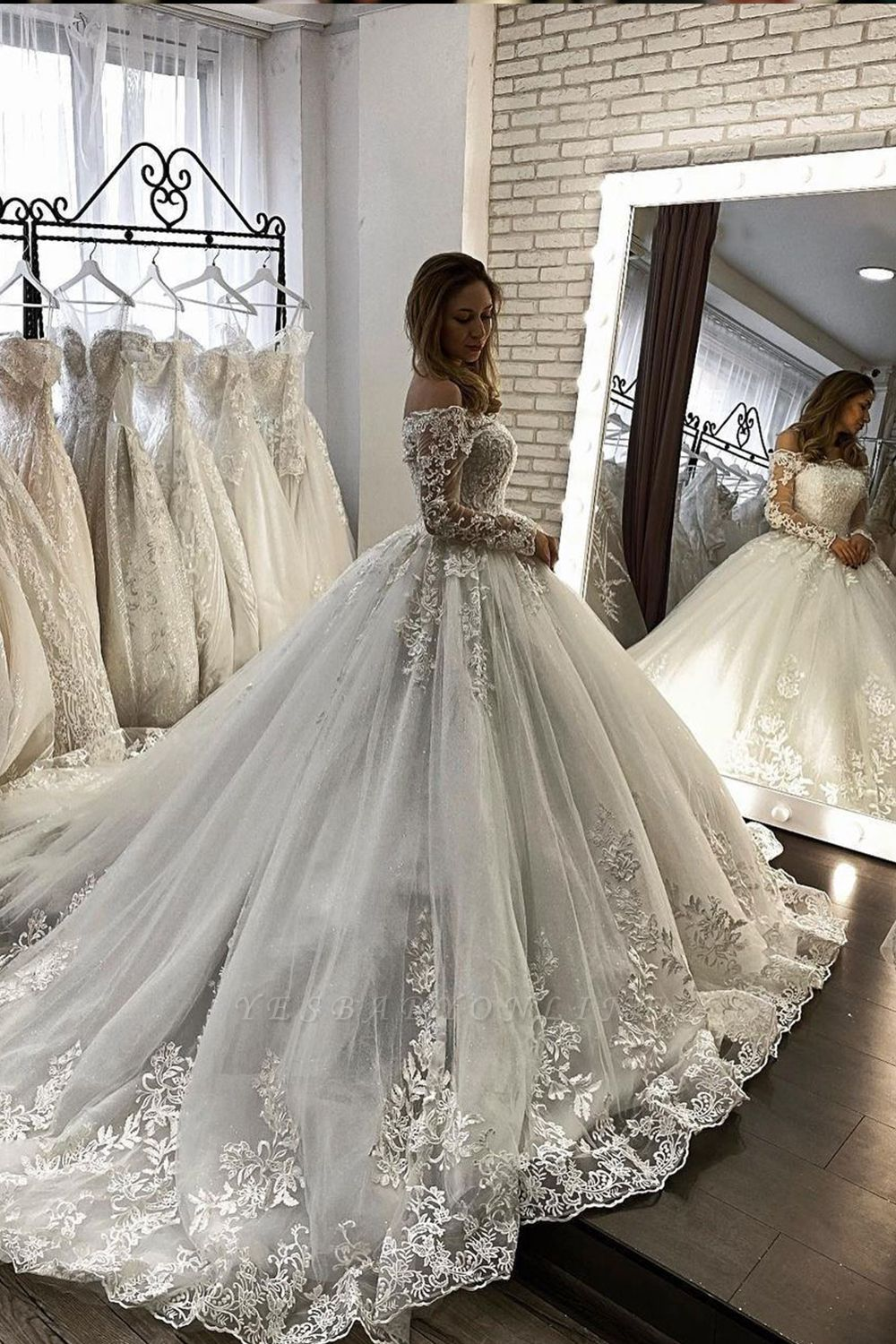 Off Shoulder Lace Long Sleeves Ball Gown White Bridal Gowns