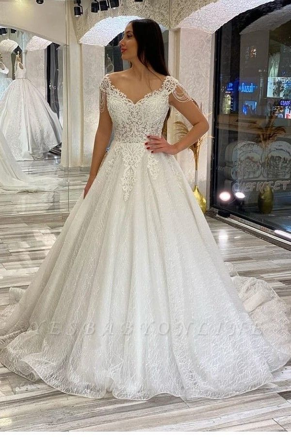 A line off the shoulder lace wedding dresses sleeveless
