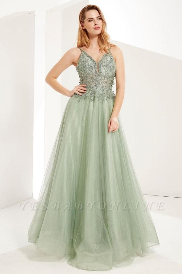 Elegant Sleeveless Dustysage Green Prom Dresses With Lace Appliques