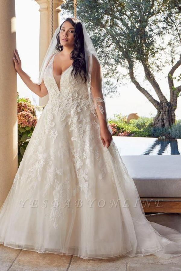 Glamorous Sleeveless V Neck Tulle Lace Wedding Dresses A-Line