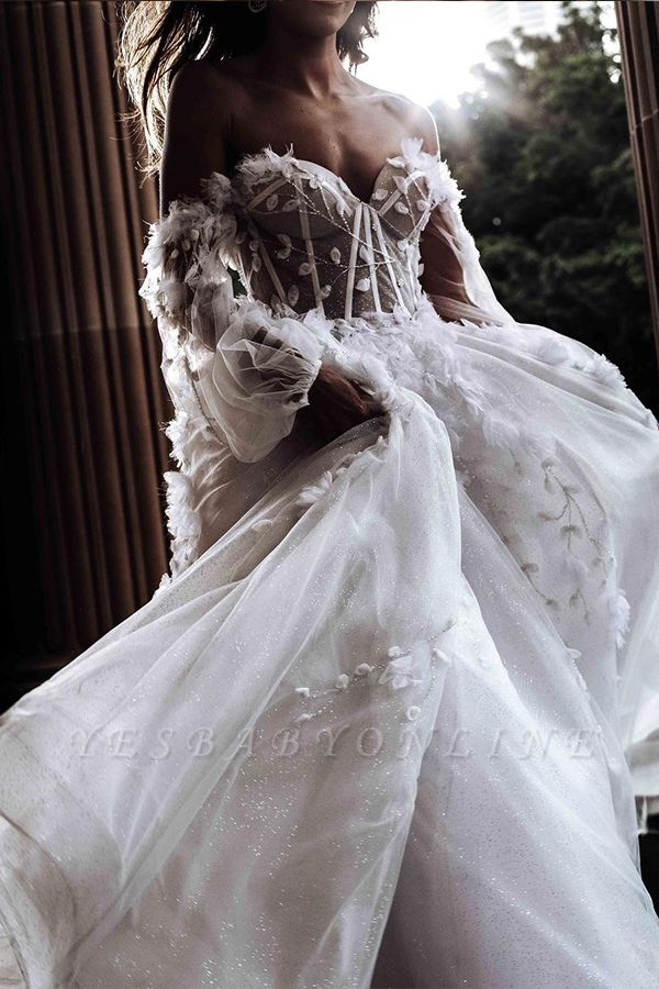 Floral Floor-length Sweetheart Tulle Beading Wedding Dresses With Long Sleeves