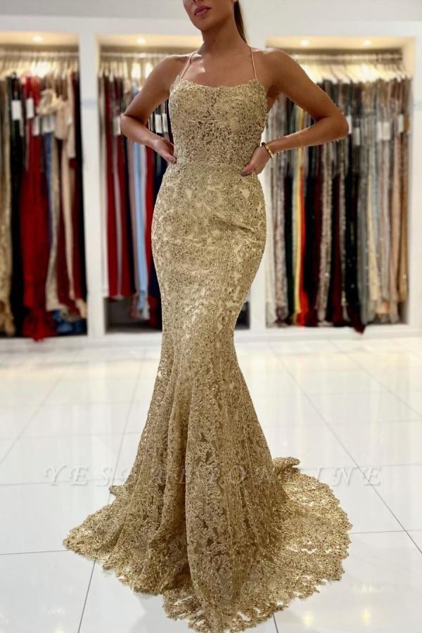 Luxury Sleeveless Lace Ruffles Prom Dresses Mermaid