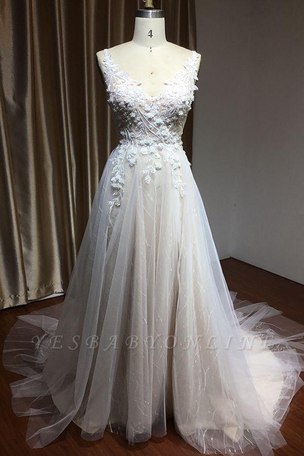 Glamorous V Neck Tulle Lace appliques Wedding Dresses Floor-length